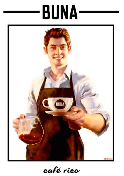 hombre cargando una taza de café con mandil negro y fondo blanco. Póster ilustrado.