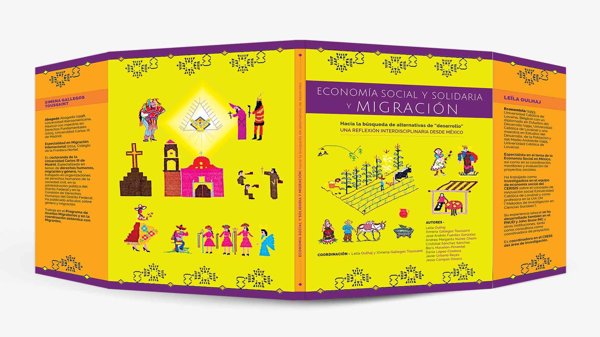 diseño gráfico de portada amarilla con adaptación de bordado original