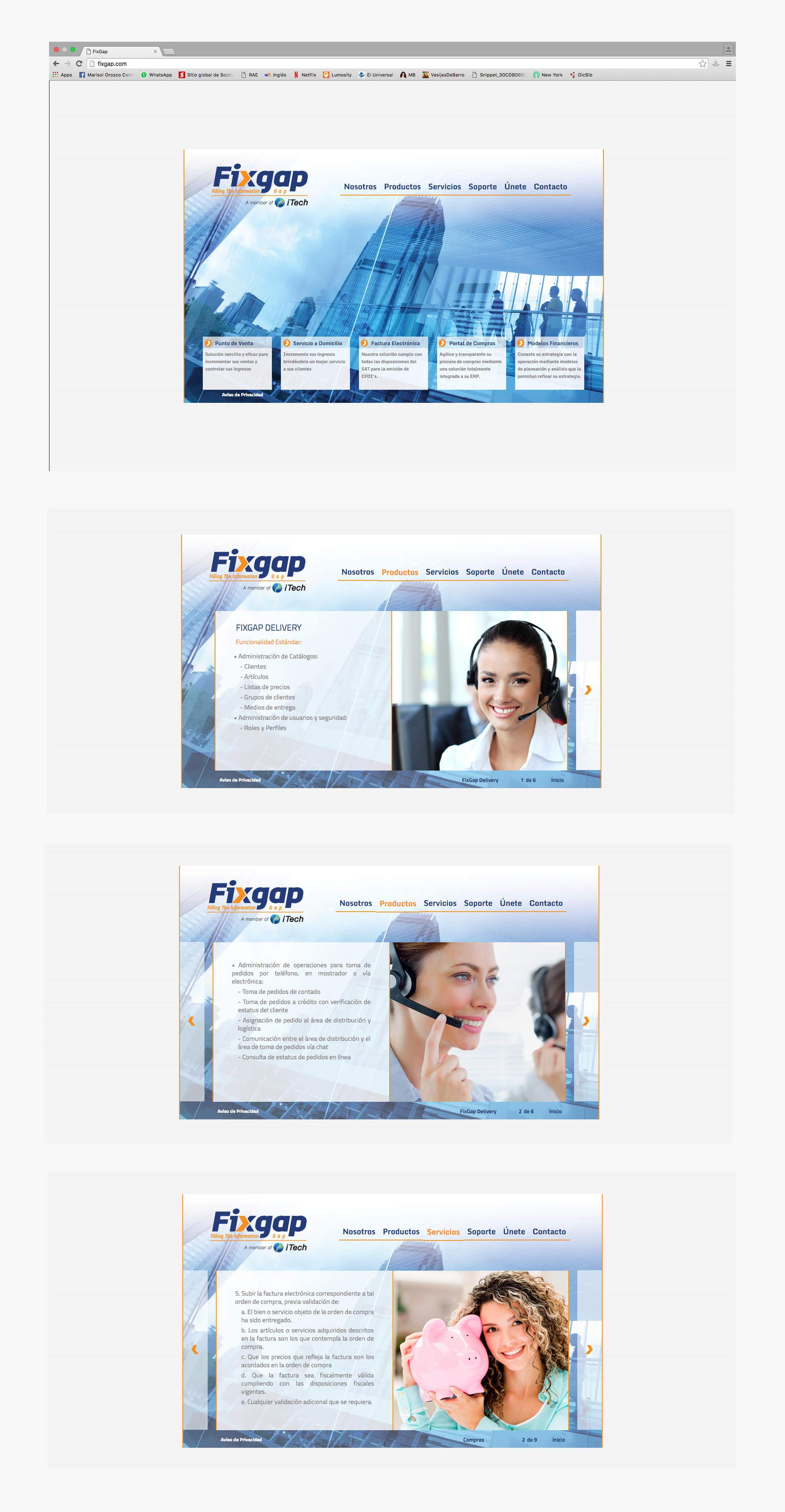 variais paginas del sitio web de fixgap