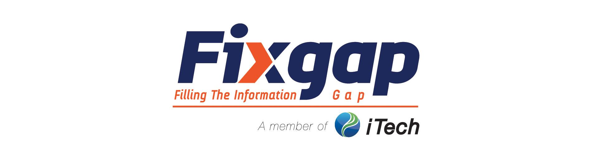 Logo azul con naranja de tecnología fixgap