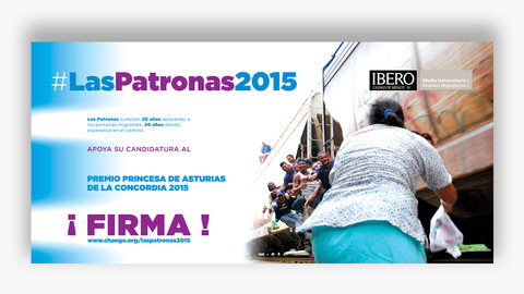 Diseño de campaña a favor de las Patronas, mostrando patrona dando de comer a migrantes en el tren,