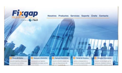 portada de sitio web fixgap tecnologia sistemas