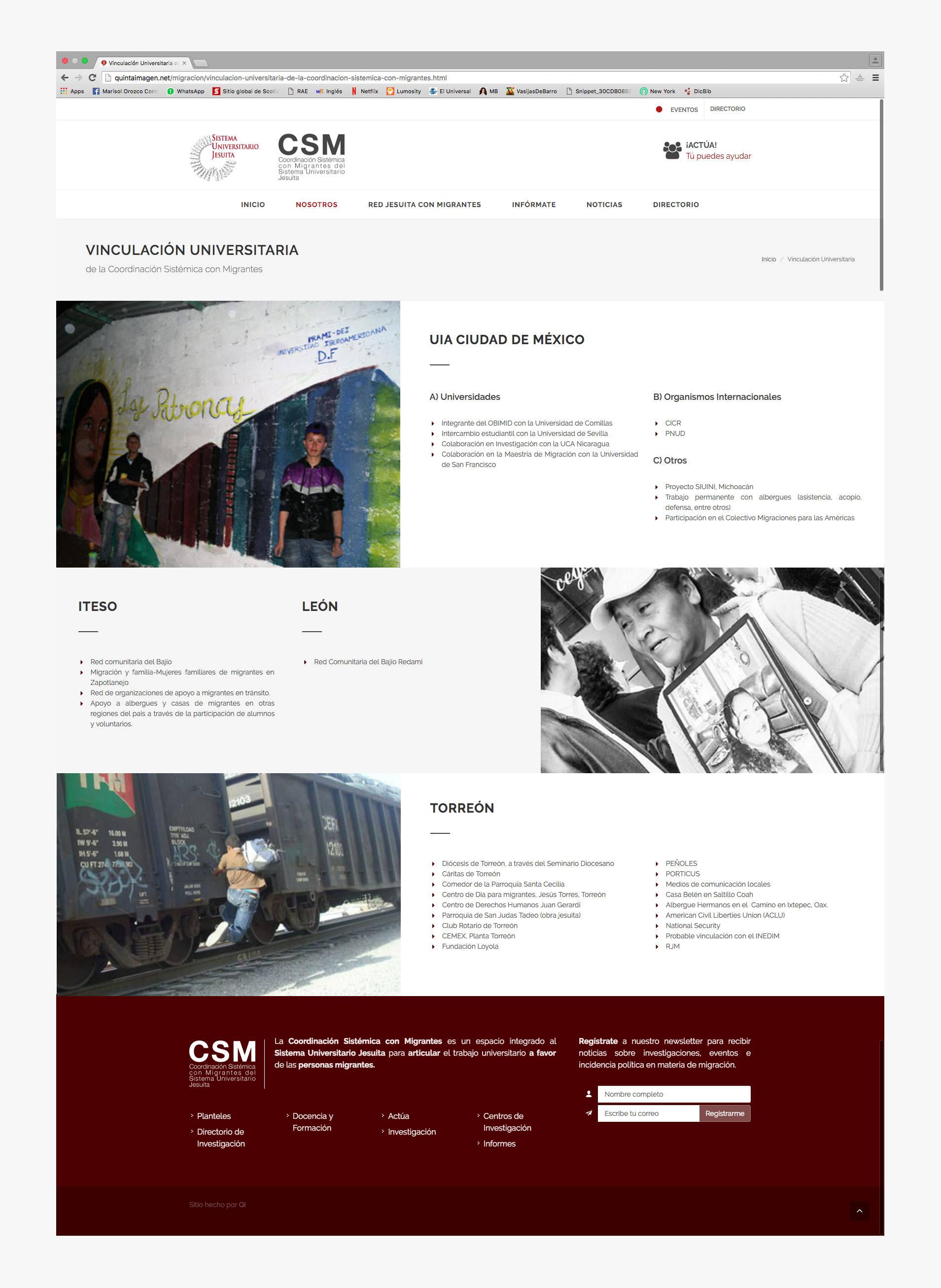 Página de contáctanos del sitio web para la CSM