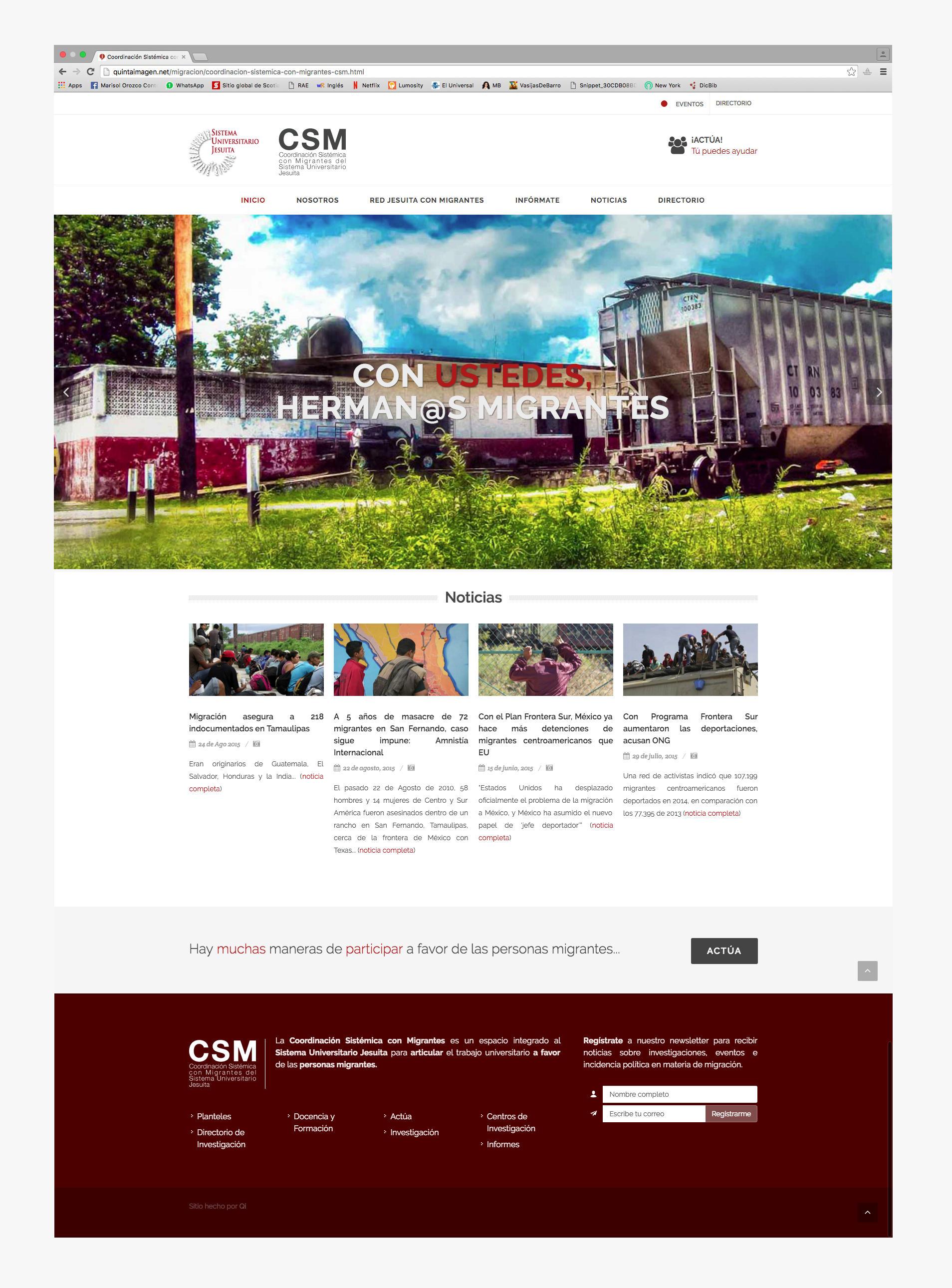 Página de inicio del sitio web de la csm