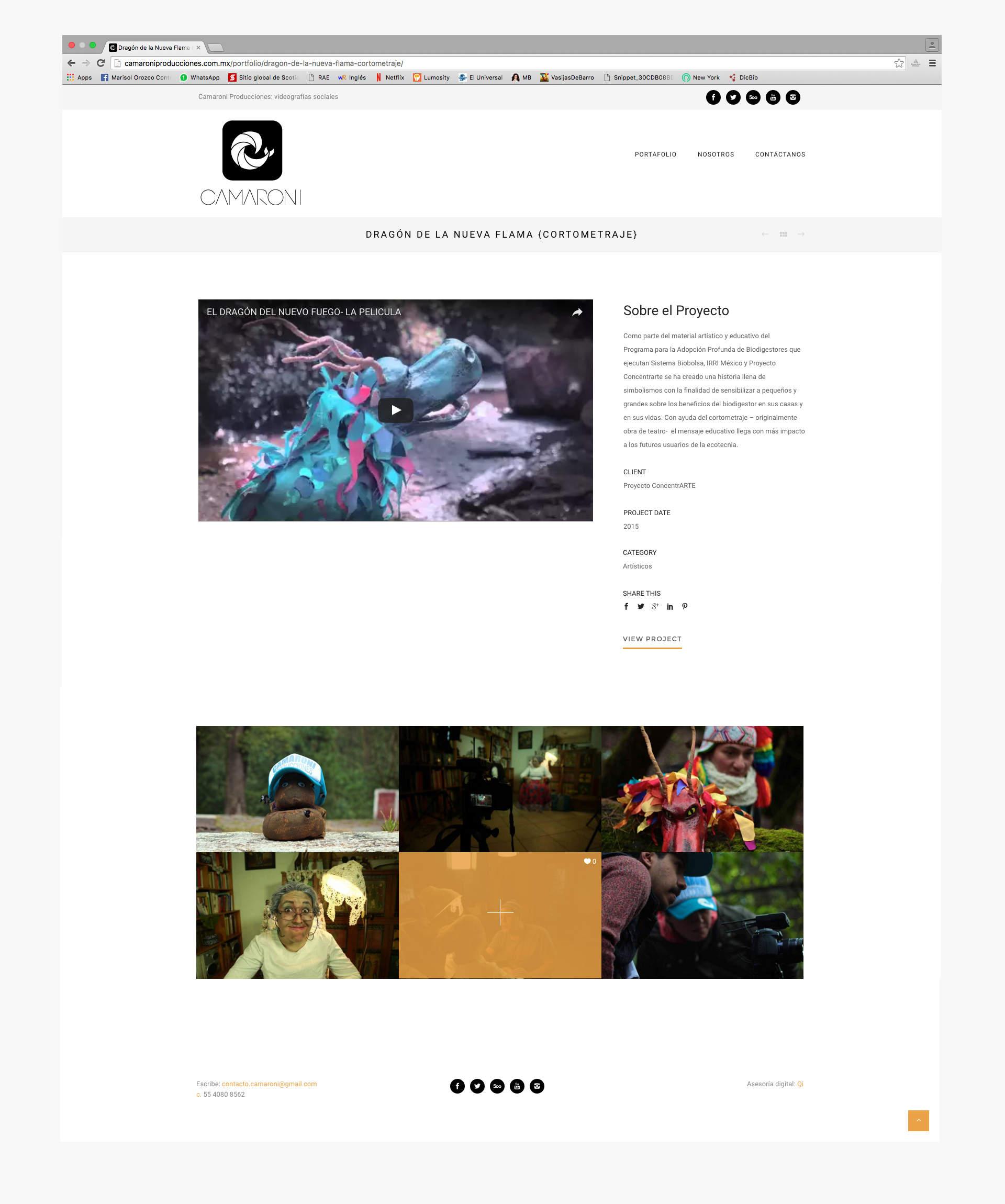 Parte del portafolio de camaroni producciones en su sitio web