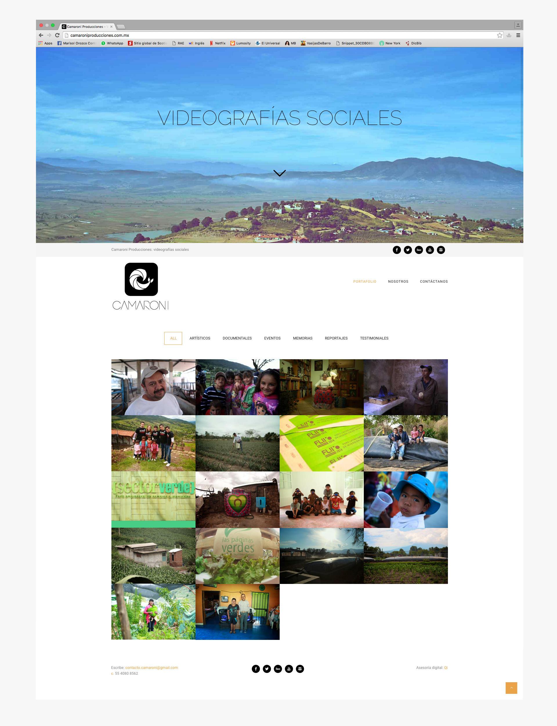 Home de la pagina web de camaroni producciones