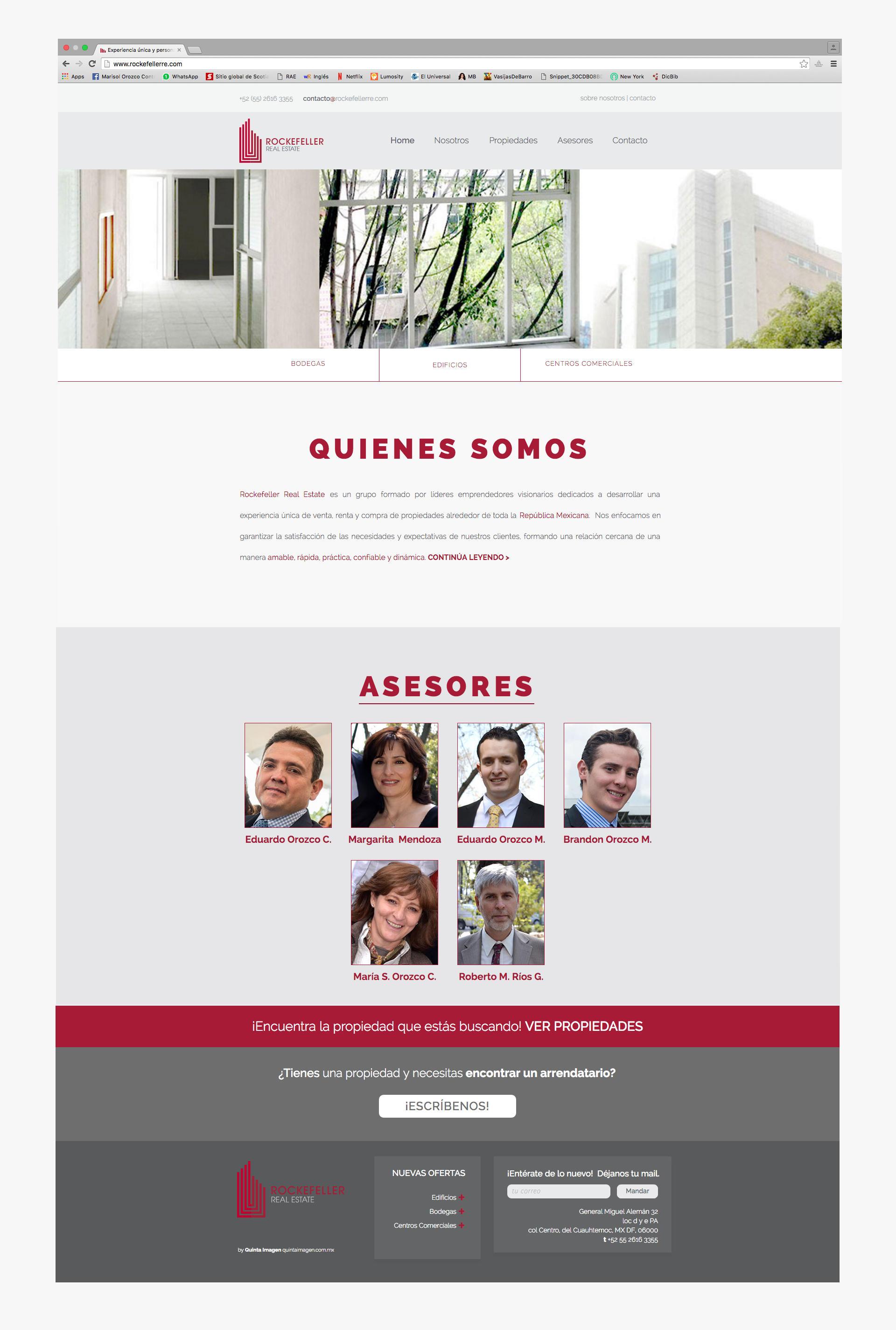 Pagina de inicio del sitio web de Rockefeller Real Estate