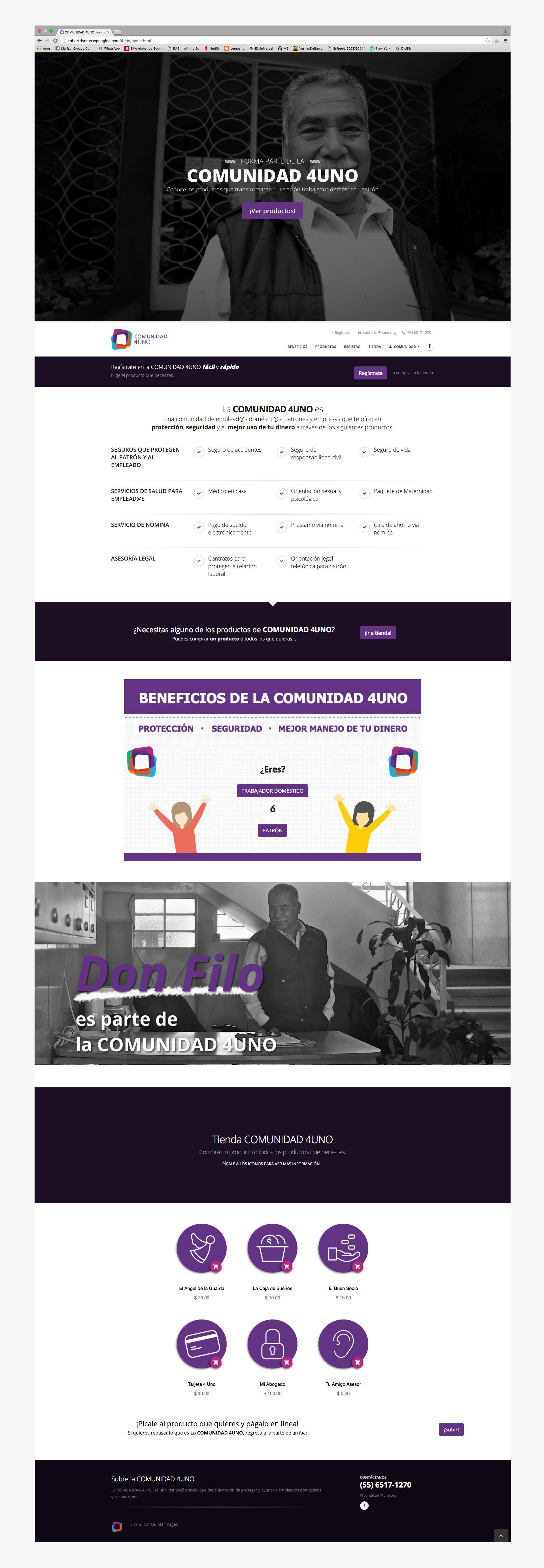 Página de inicio del sitio web para COMUNIDAD 4UNO