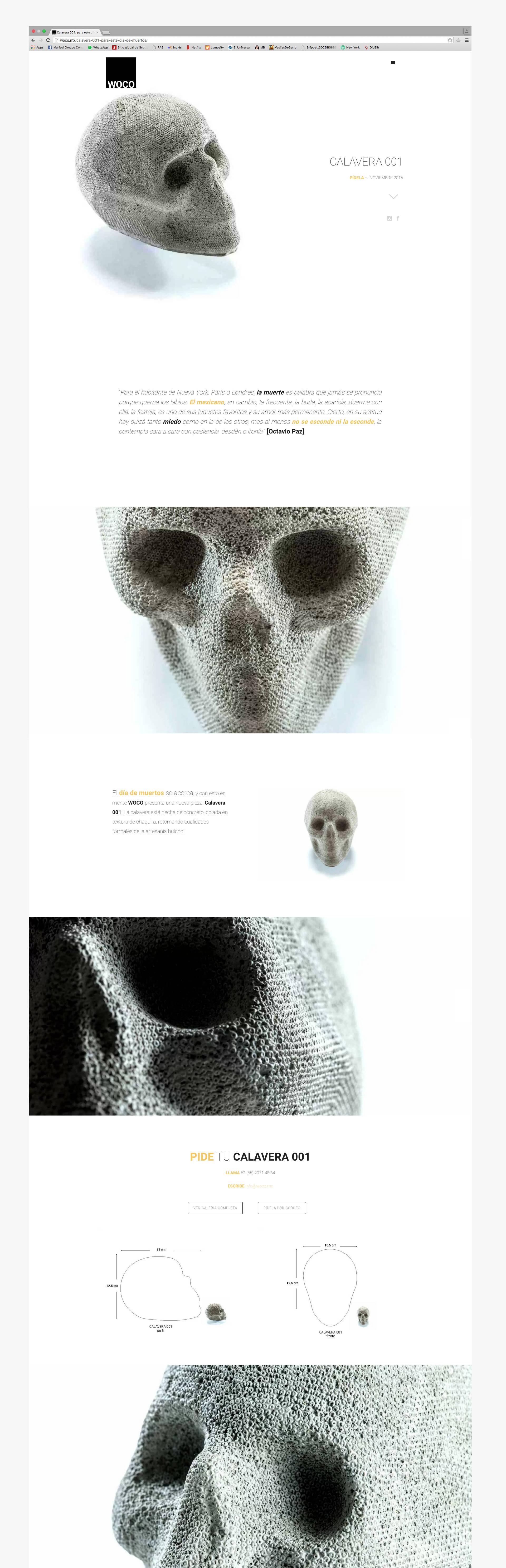 Creacion de pagina web para WOCO diseno de objeto y mobiliario