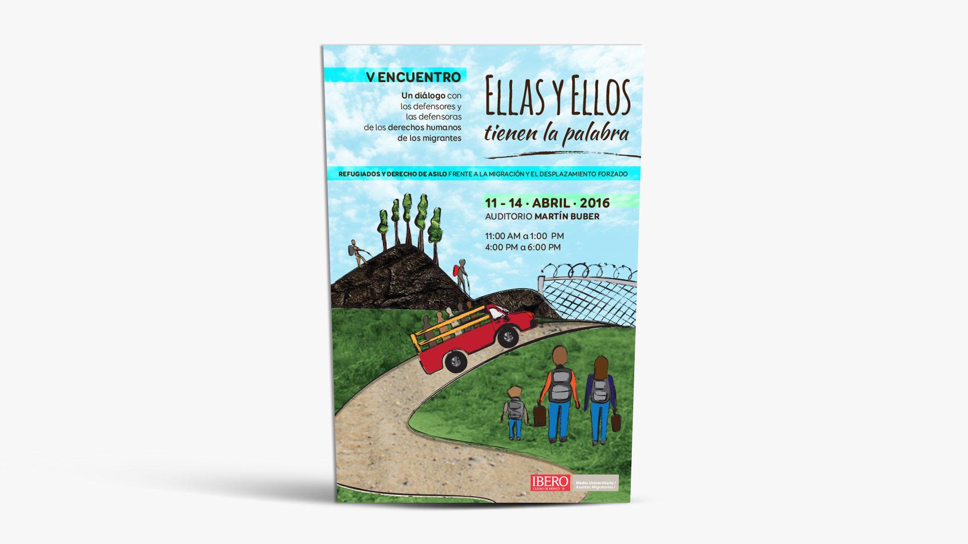 Poster Ellas y Ellos tienen la palabra con una ilustración de un camino IBERO PRAMI