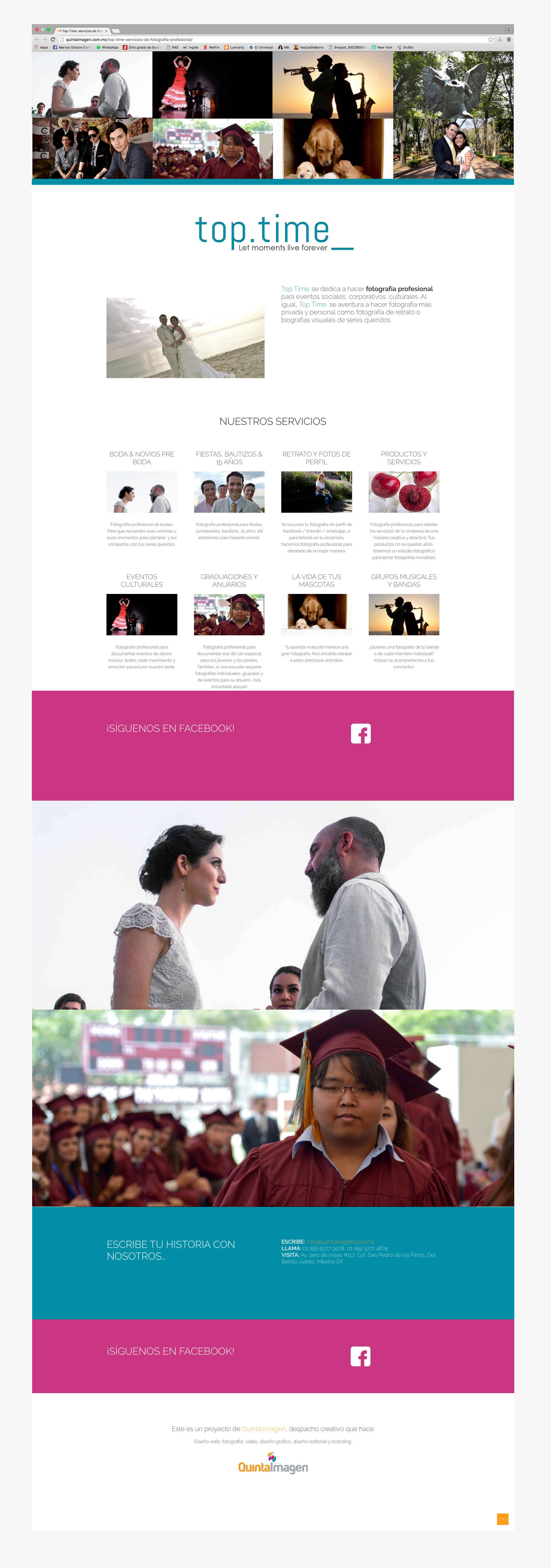 Página principal de la página web de top time