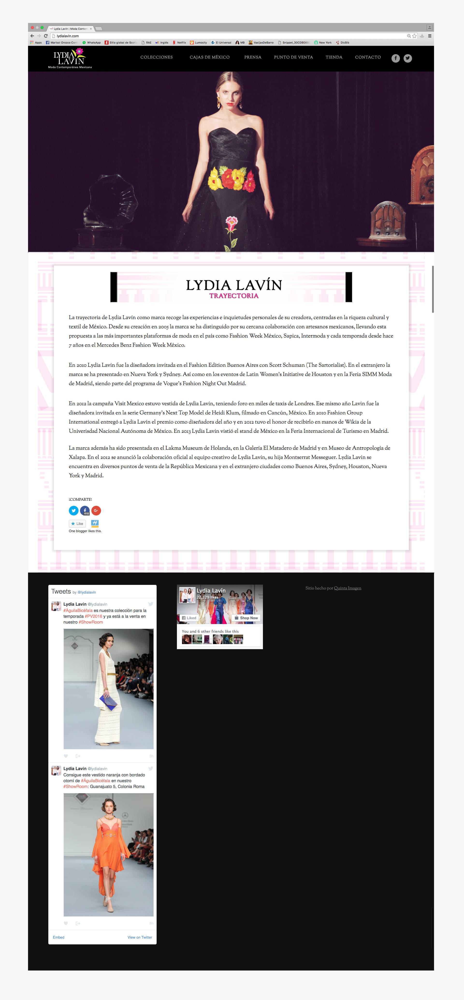 Página principal del sito web de Lydia Lavin