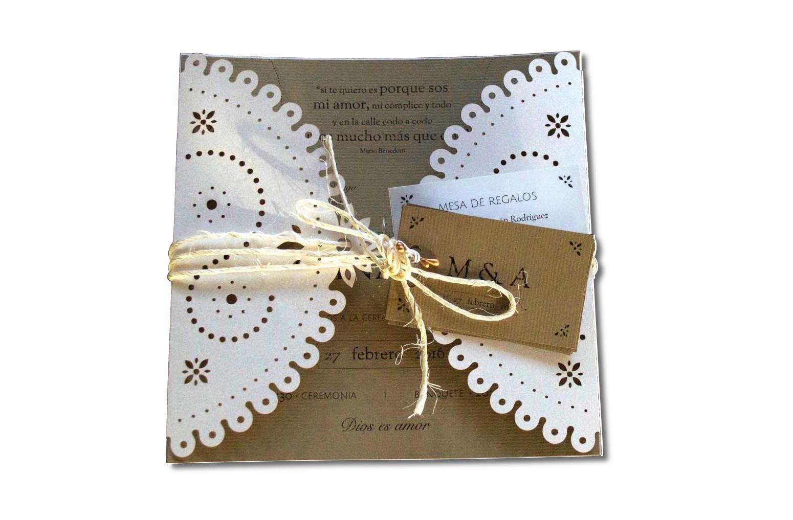 invitación de boda rústica UNIO con boletos y mesa de regalos