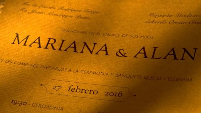 invitación de boda rústica UNIO con papel café de arte
