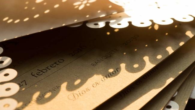 invitación de boda rústica UNIO abierta