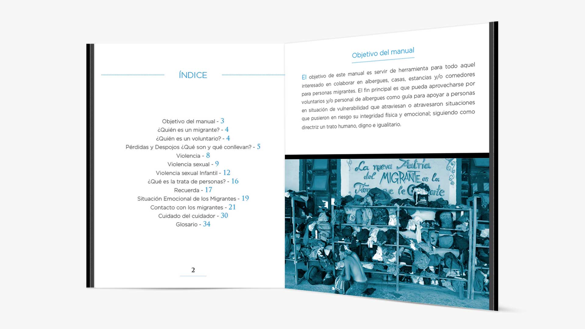 Índice y primera página del manual