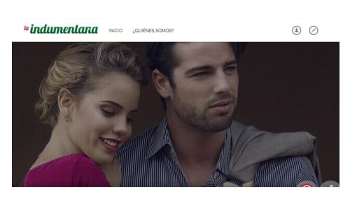 pagina del sitio web la indumentaria, con una pareja