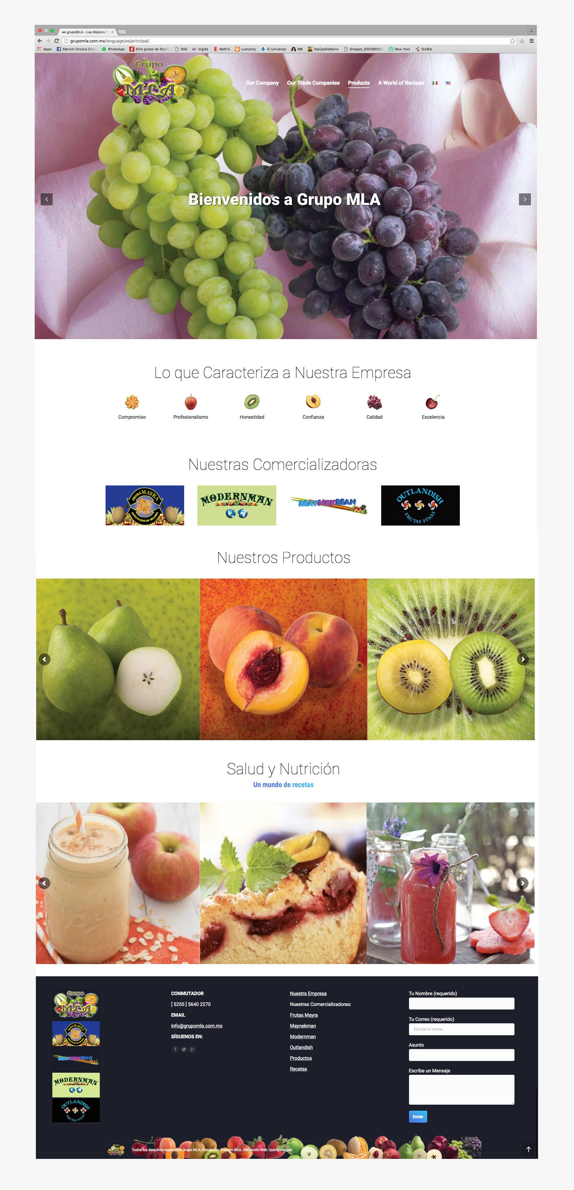 Página principal del sitio web de GRUPO MLA, frutas