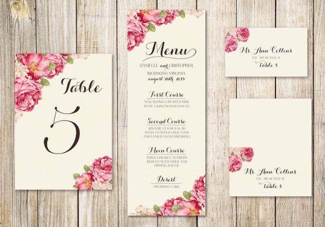 Diseño de Kit: número de mesa y tarjetas con nombre de invitados en asiento asignado. Señalización para bodas y menú.