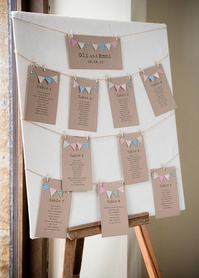 Tablero con orden de invitados en mesas para boda. Con nombres y todo.